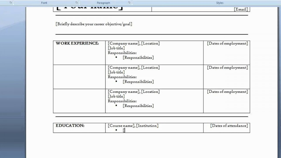 006 Staggering How To Create A Resume Template In Word 2007 Sample  Make960
