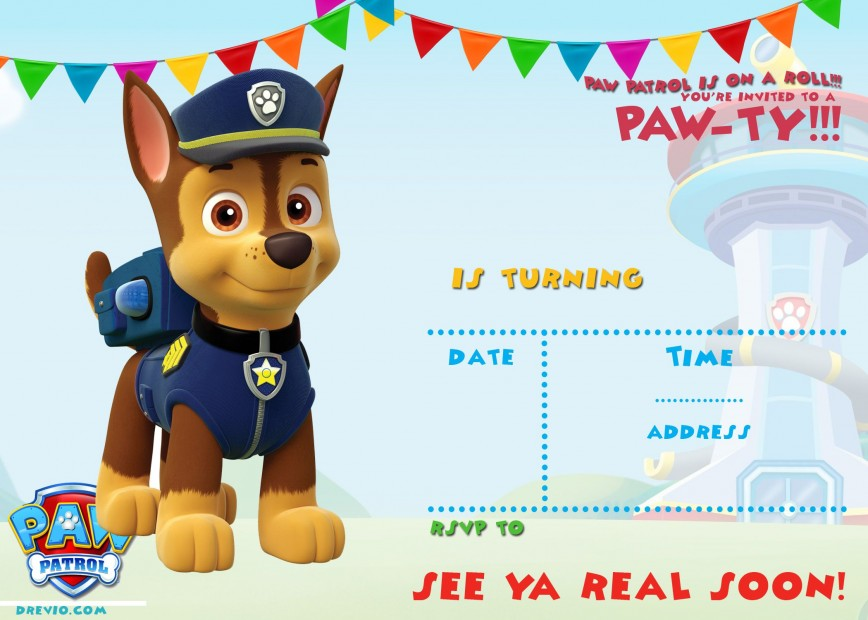 006 Staggering Paw Patrol Birthday Invitation Template Example  Invite Wording Party Free Skye