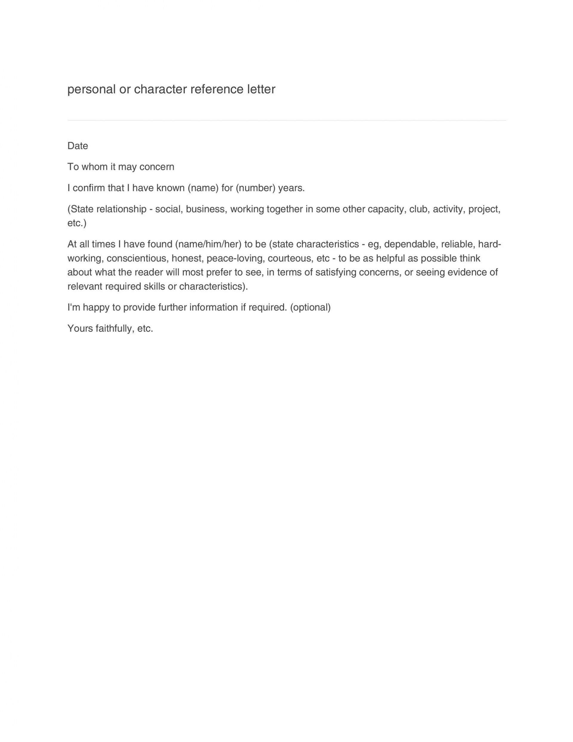 006 Staggering Personal Reference Letter Template Highest Clarity  Character Word For Rental Application1920