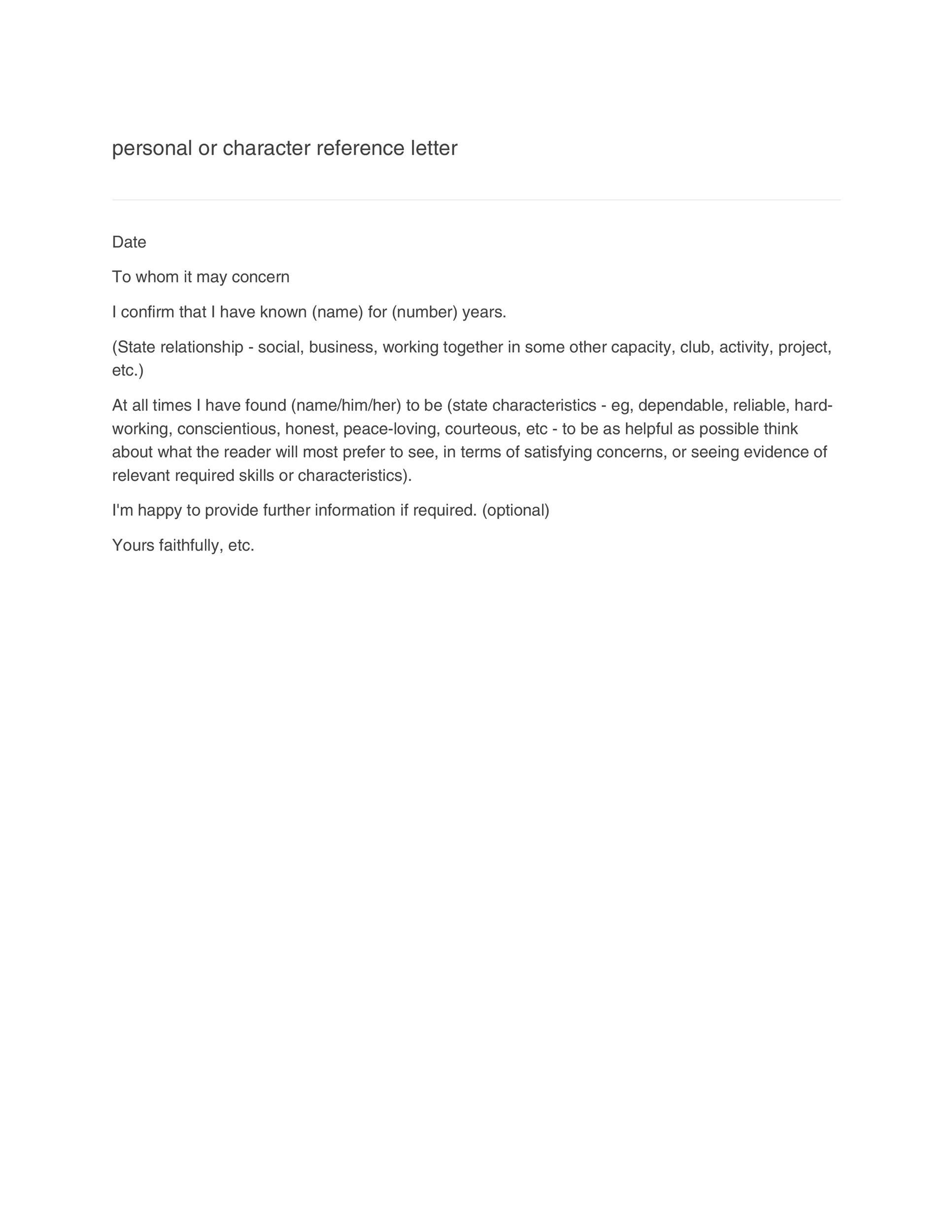 006 Staggering Personal Reference Letter Template Highest Clarity  Character Word For Rental ApplicationFull