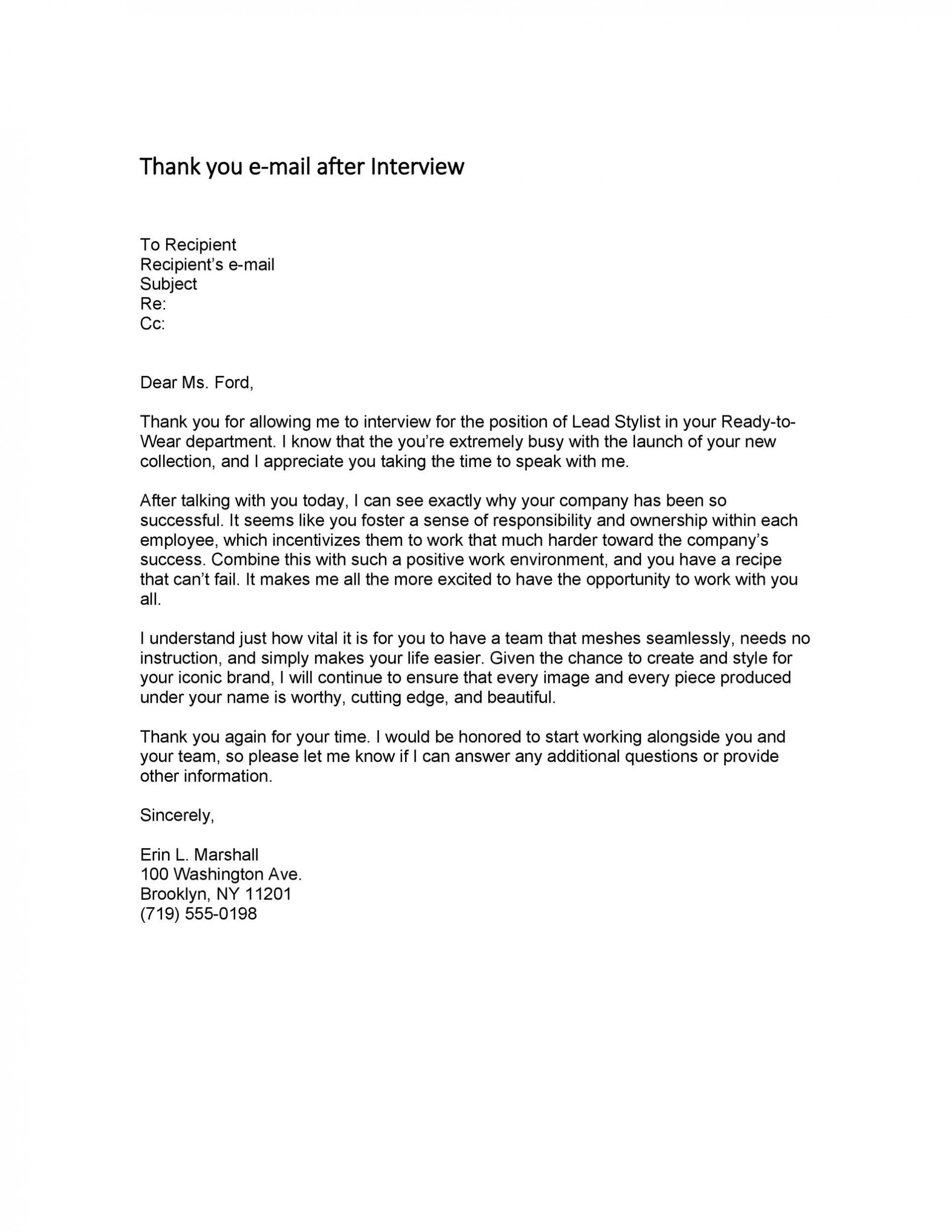006 Staggering Thank You Note Template Interview Sample  Letter After Example Job Residency1920