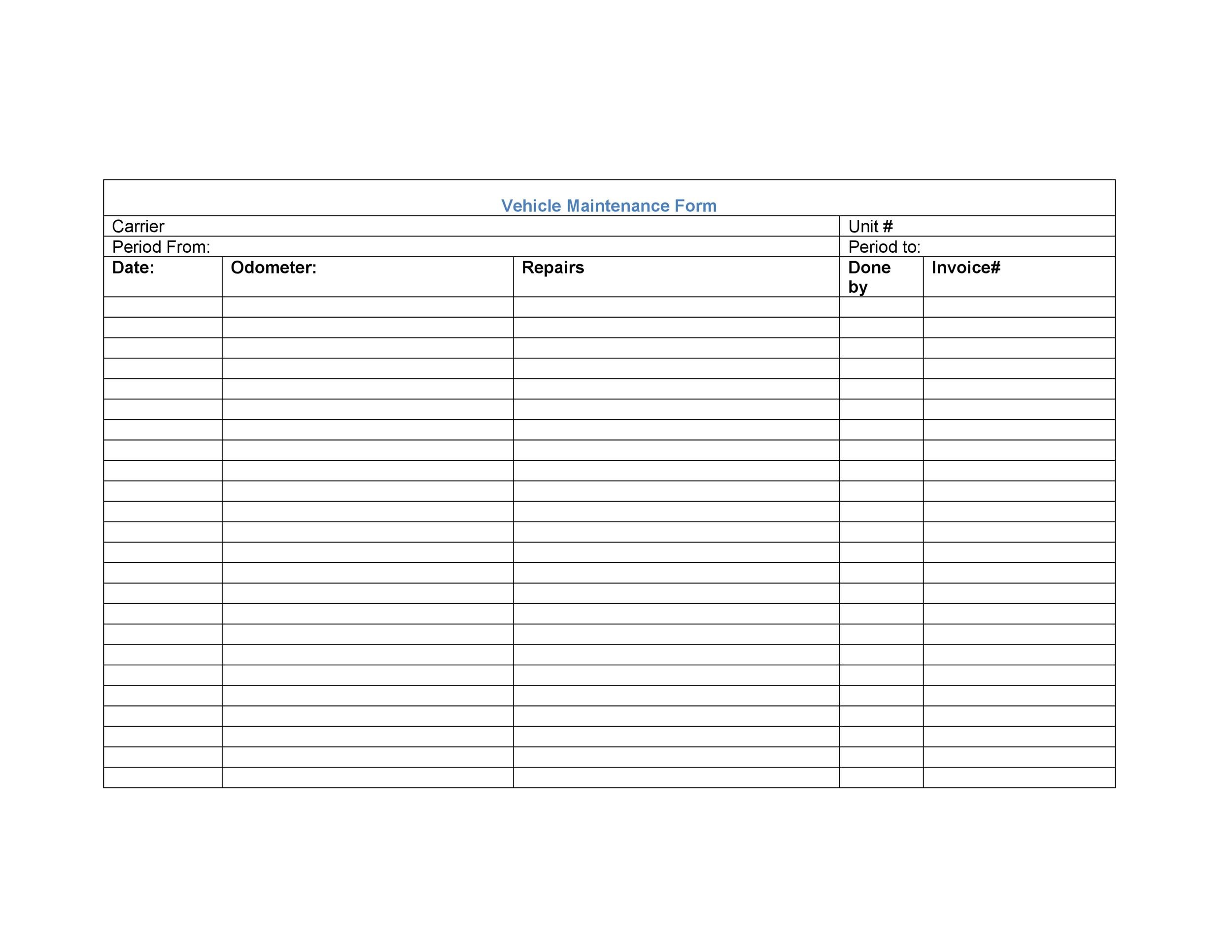 006 Staggering Vehicle Maintenance Log Template High Resolution  Microsoft CarFull