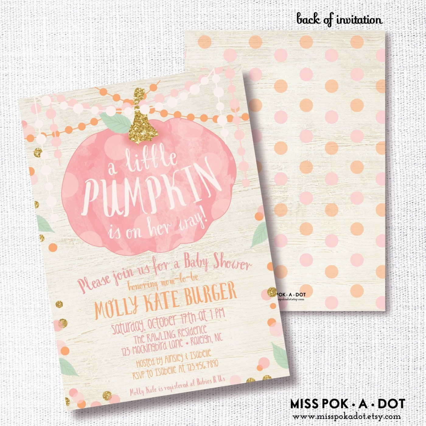 006 Stirring Baby Shower Invitation Girl Pumpkin Photo  Pink Little1400