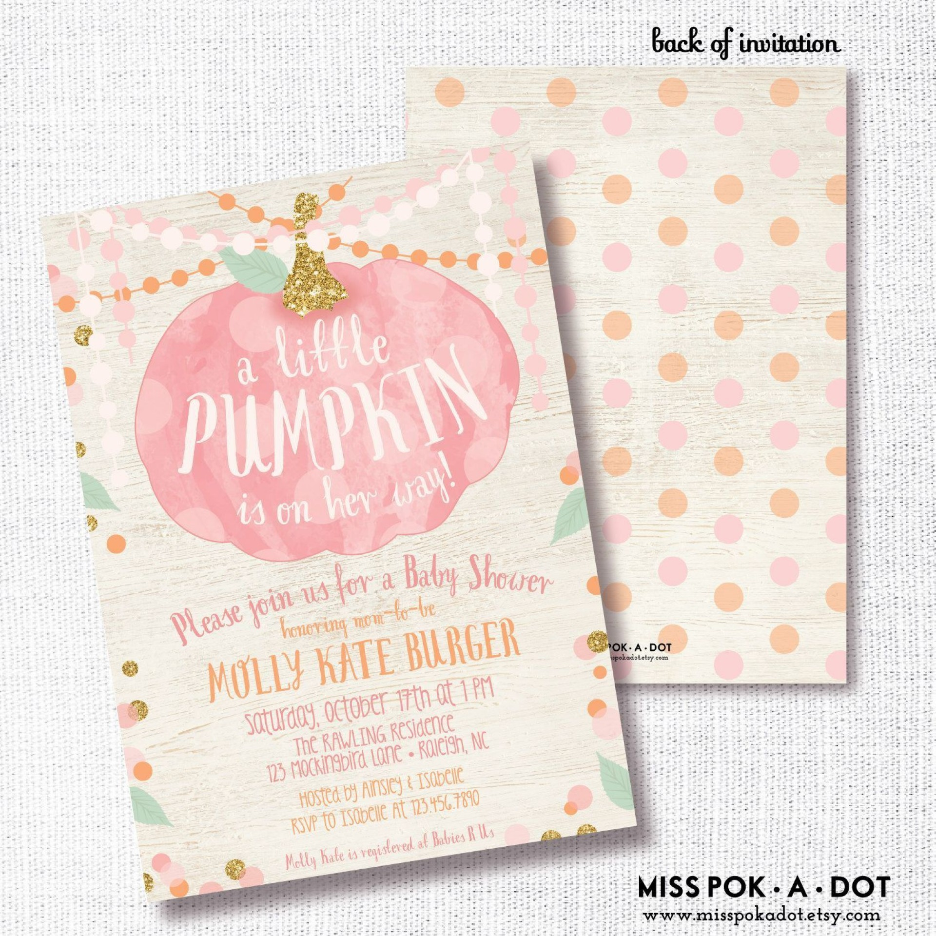 006 Stirring Baby Shower Invitation Girl Pumpkin Photo  Pink Little1920
