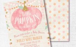 006 Stirring Baby Shower Invitation Girl Pumpkin Photo  Pink Little