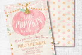 006 Stirring Baby Shower Invitation Girl Pumpkin Photo  Pink Little