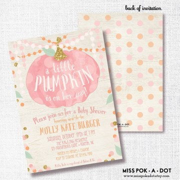 006 Stirring Baby Shower Invitation Girl Pumpkin Photo  Pink Little360