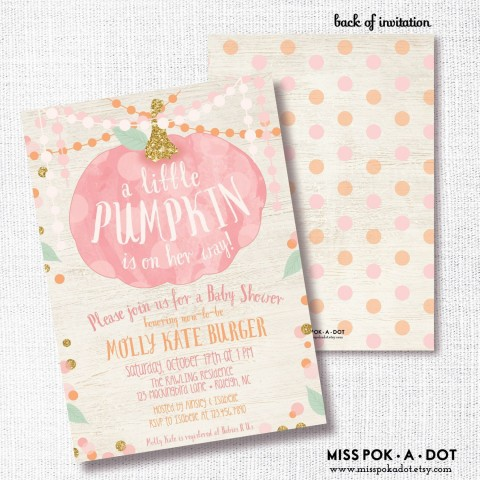 006 Stirring Baby Shower Invitation Girl Pumpkin Photo  Pink Little480