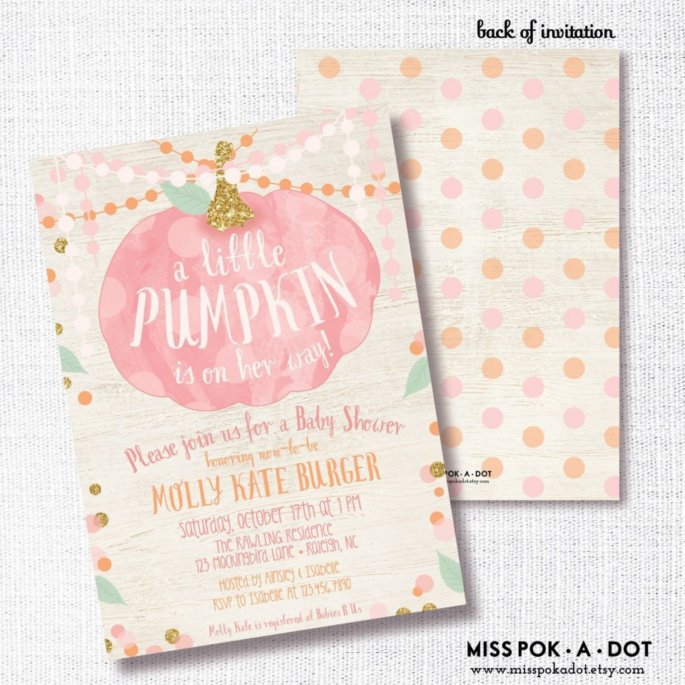 006 Stirring Baby Shower Invitation Girl Pumpkin Photo  Pink Little960