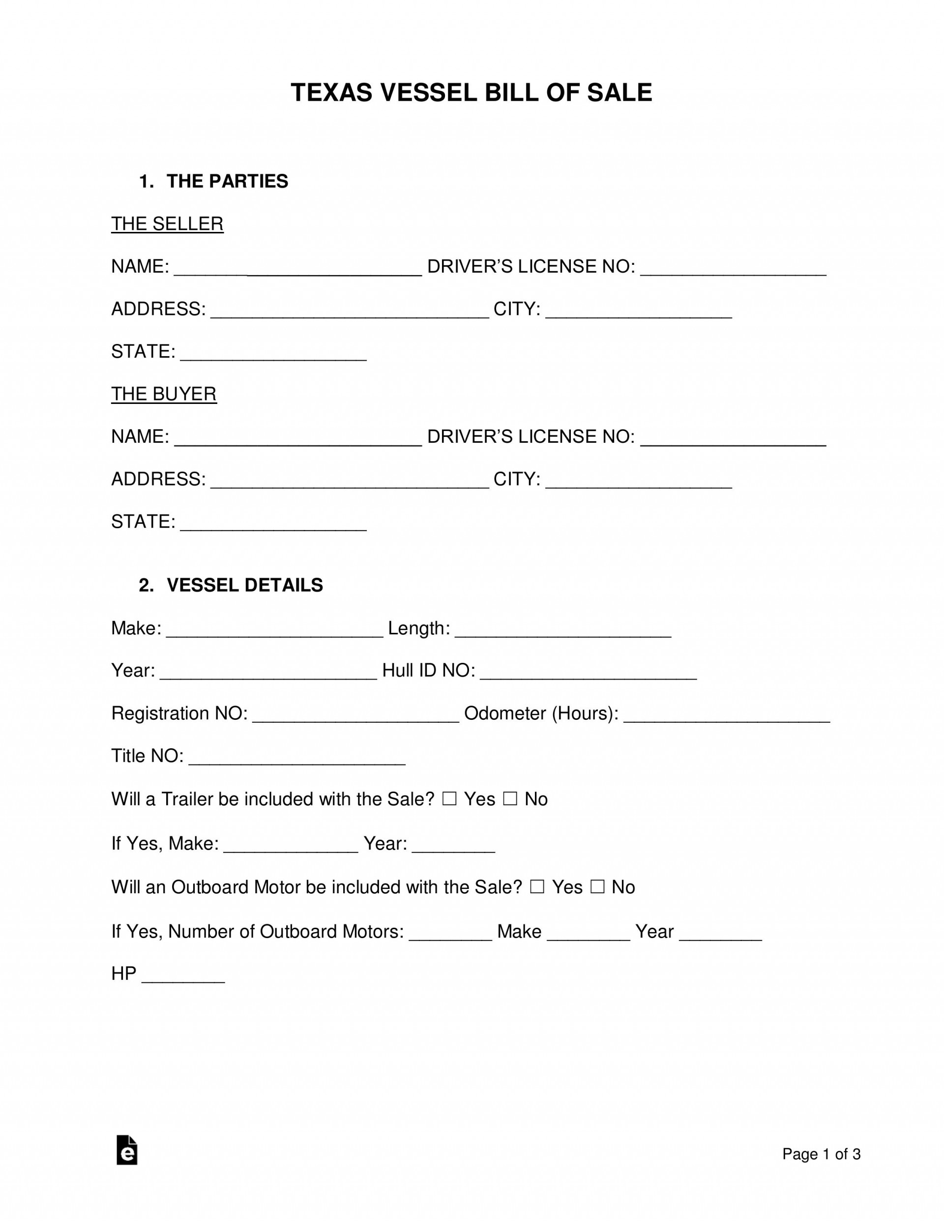006 Stirring Bill Of Sale Texa Template Concept  Motor Vehicle Form Free Printable1920
