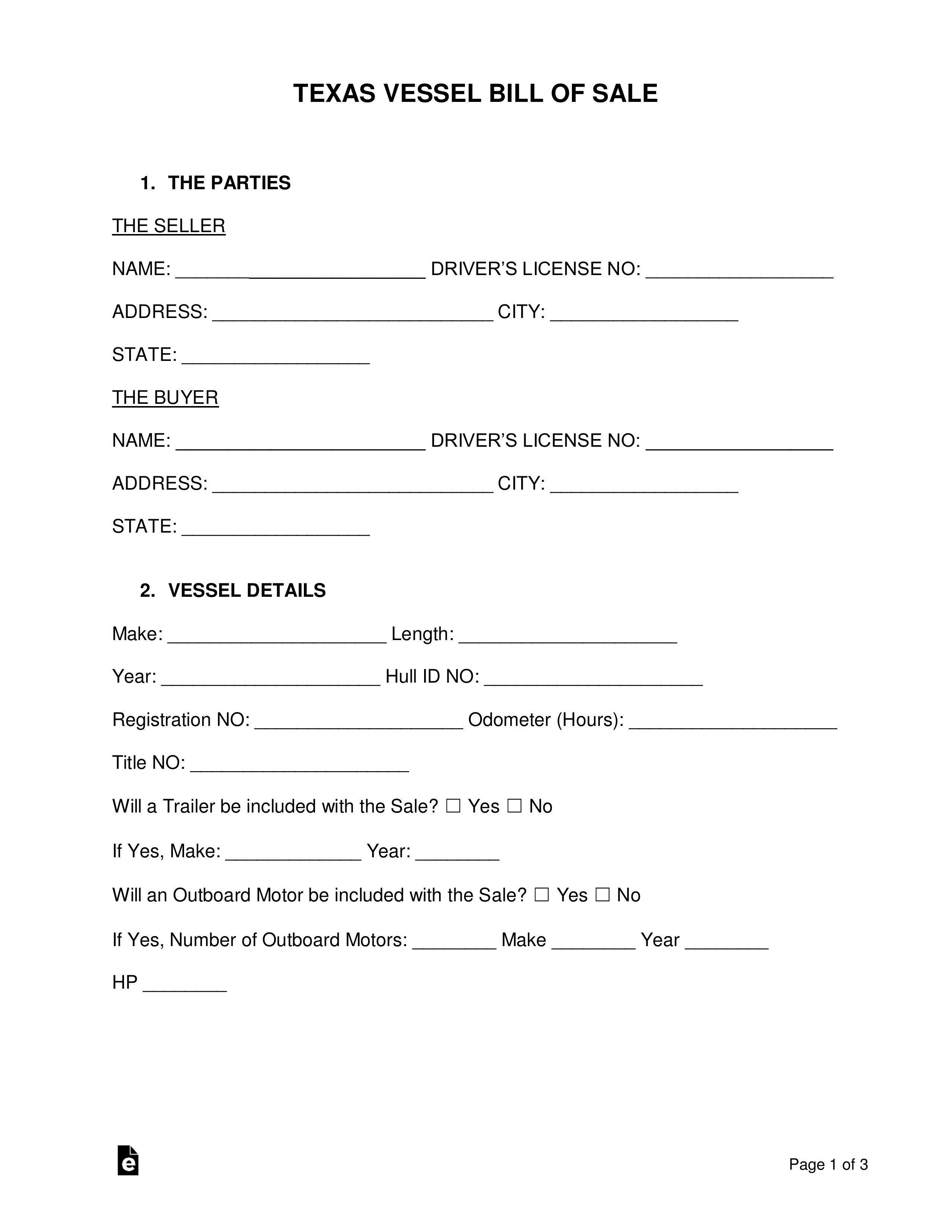 006 Stirring Bill Of Sale Texa Template Concept  Motor Vehicle Form Free PrintableFull