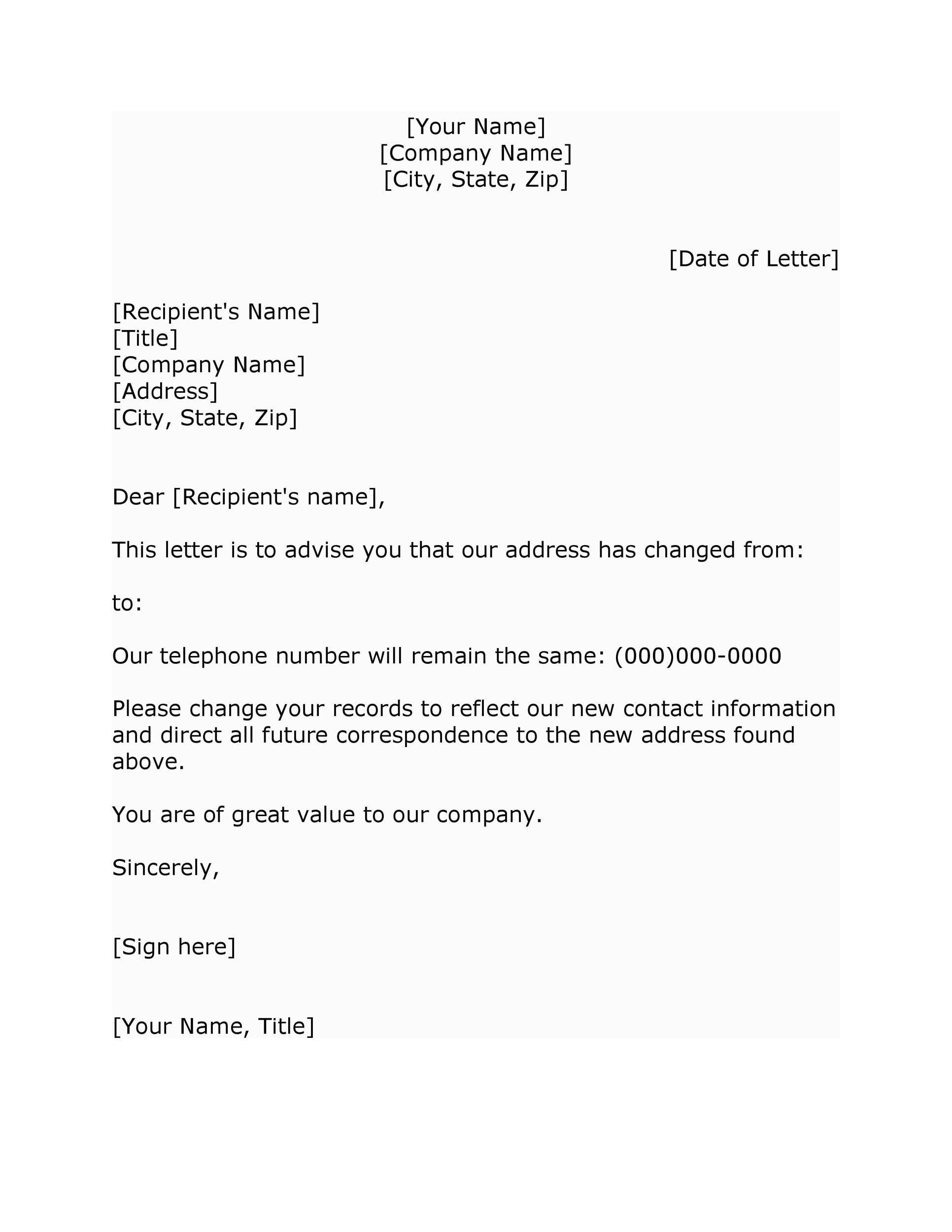 006 Stirring Change Of Addres Letter Template Idea  Templates For Busines FreeFull