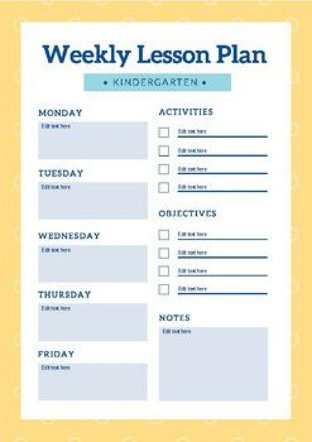 006 Stirring Editable Lesson Plan Template Kindergarten Picture  FreeLarge
