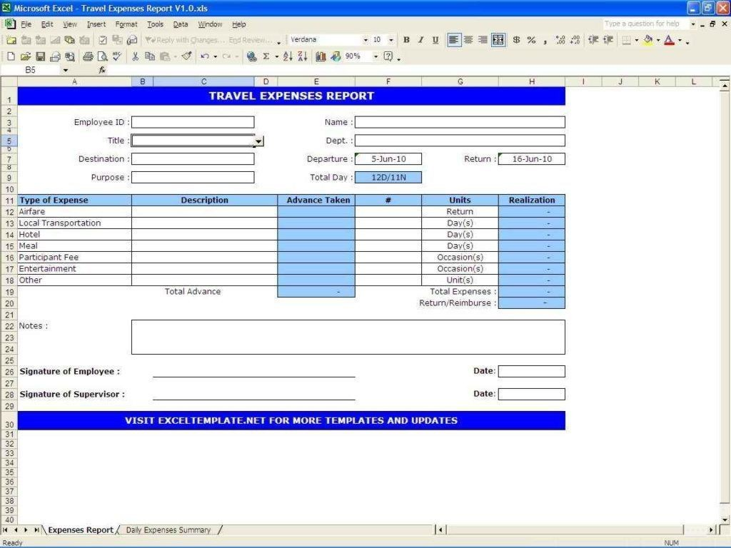 006 Stirring Excel Busines Travel Expense Template Picture Large