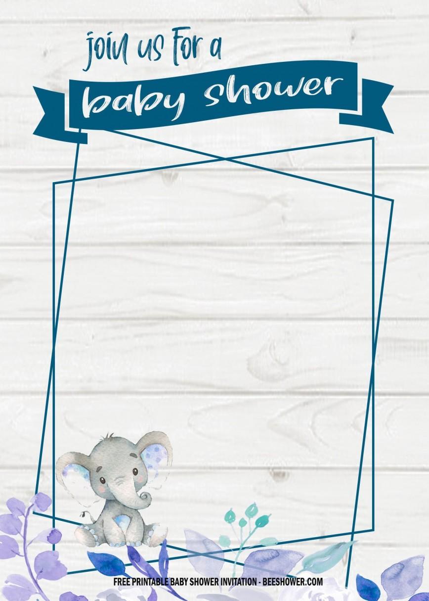 006 Stirring Free Baby Shower Printable Elephant Highest Clarity  Blue Decoration