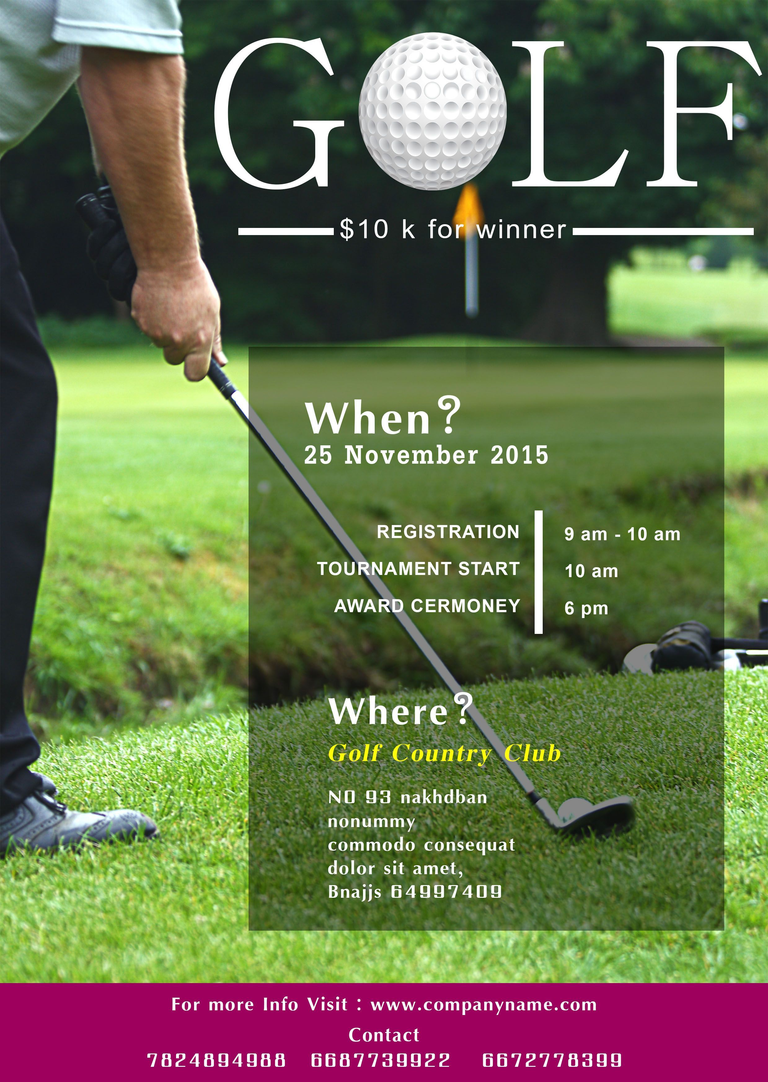006 Stirring Golf Tournament Flyer Template Photo  Word Free PdfFull