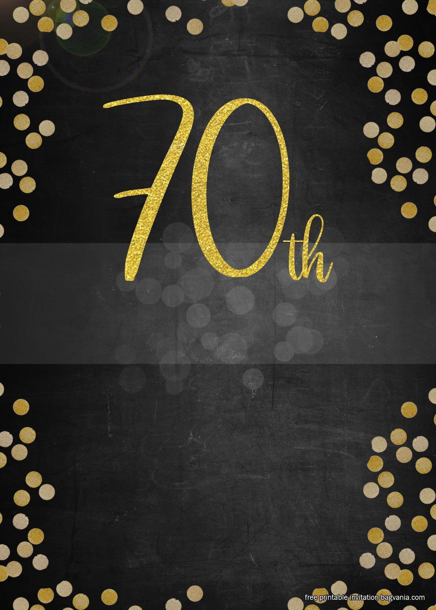 006 Striking 70th Birthday Invitation Template Free Inspiration  Surprise Invite With PhotoFull