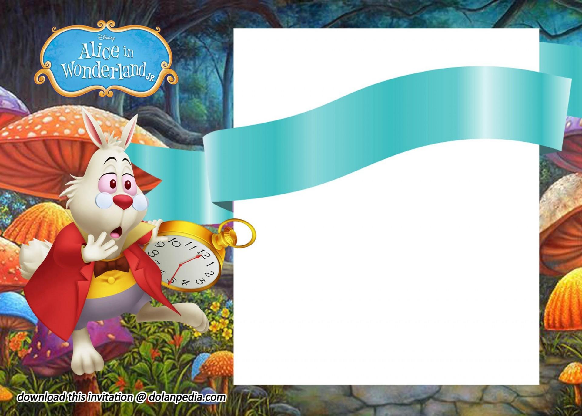 006 Striking Alice In Wonderland Tea Party Template High Def  Templates Invitation Free1920