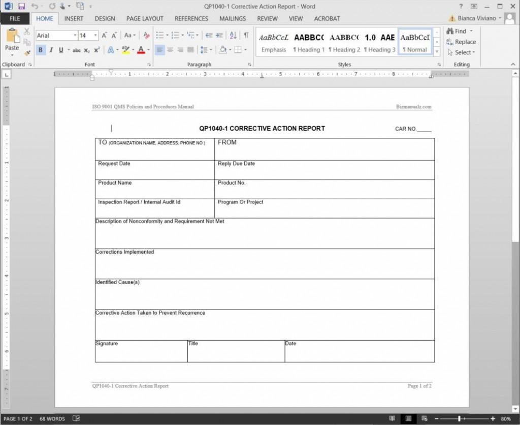 006 Striking Corrective Action Report Template Design  Doc 8d Format PdfLarge
