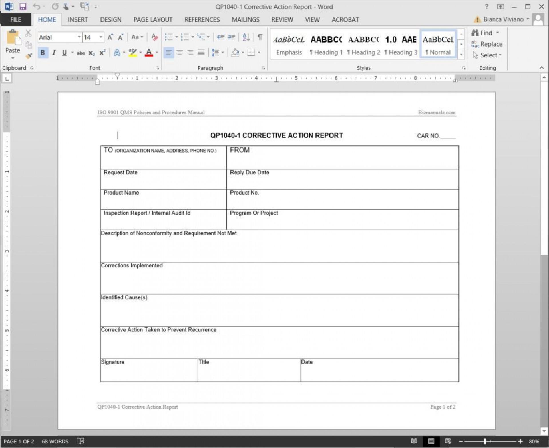 006 Striking Corrective Action Report Template Design  Doc 8d Format Pdf1920
