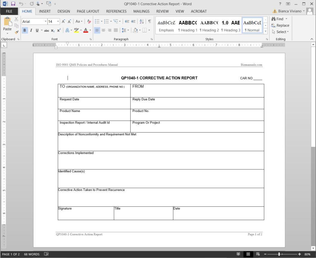 006 Striking Corrective Action Report Template Design  Doc 8d Format PdfFull