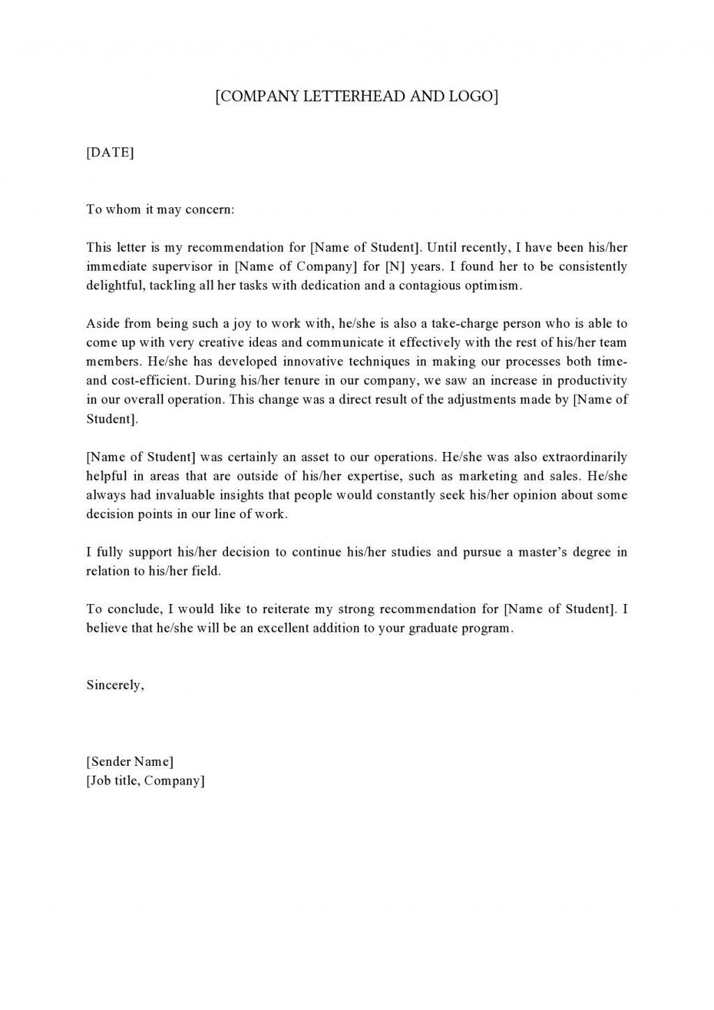 006 Striking Example Of Letter Recommendation For Graduate School From Employer High Def  Sample Pdf GradLarge