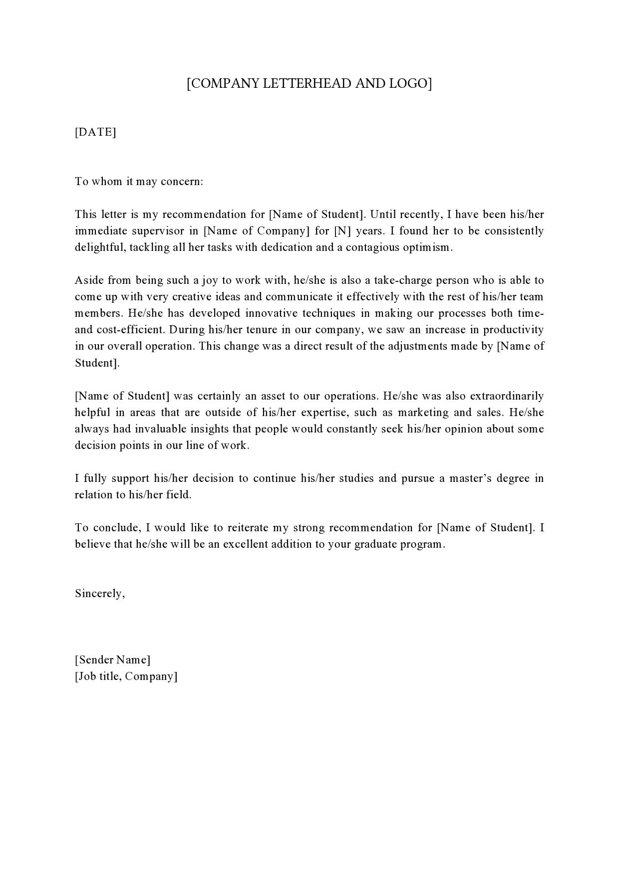 006 Striking Example Of Letter Recommendation For Graduate School From Employer High Def  Sample Pdf GradFull