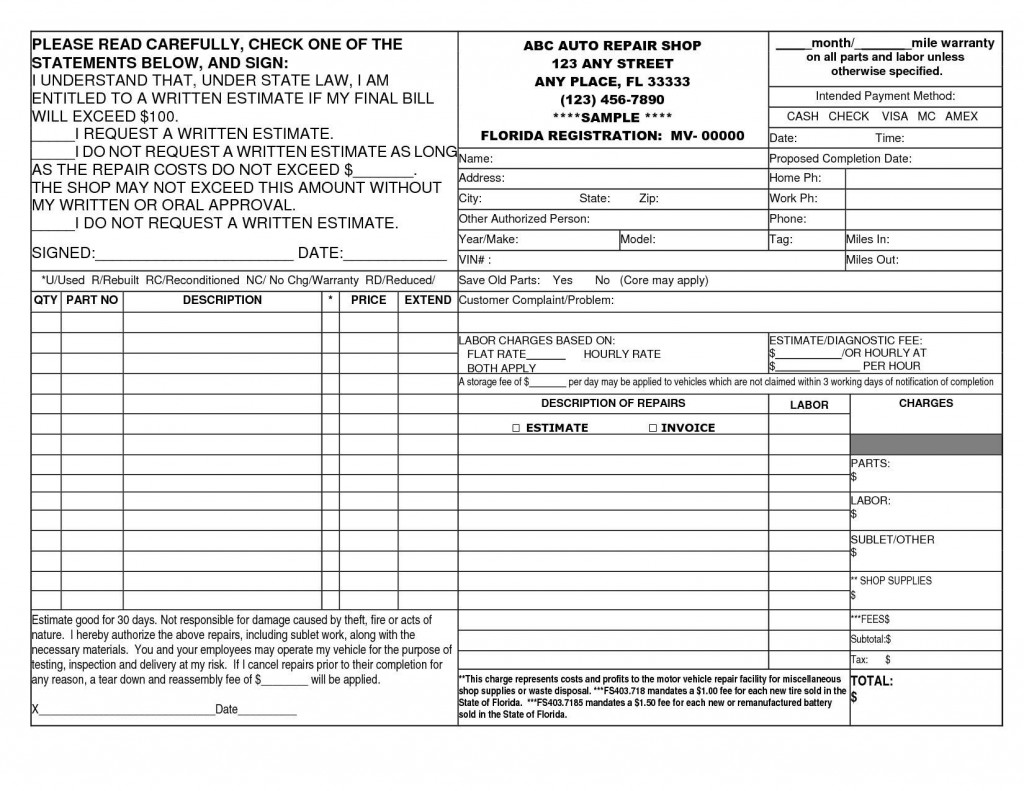 006 Striking Free Auto Repair Shop Invoice Template Highest Clarity Large