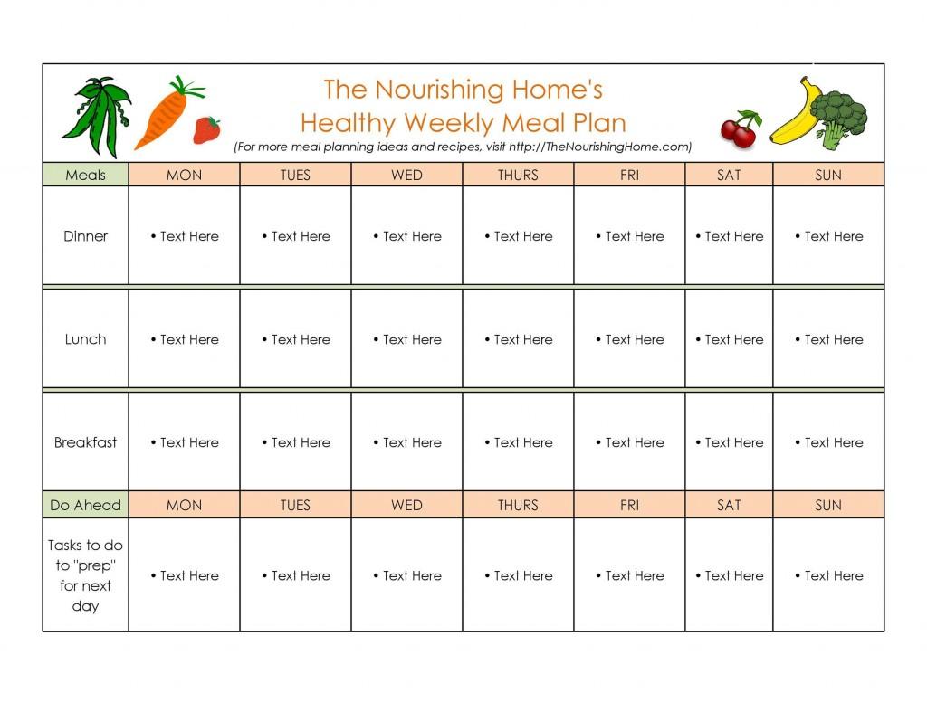 006 Striking Free Food Planner Template Sample  Printable Weekly Meal With Grocery List Diary Download Editable WordLarge