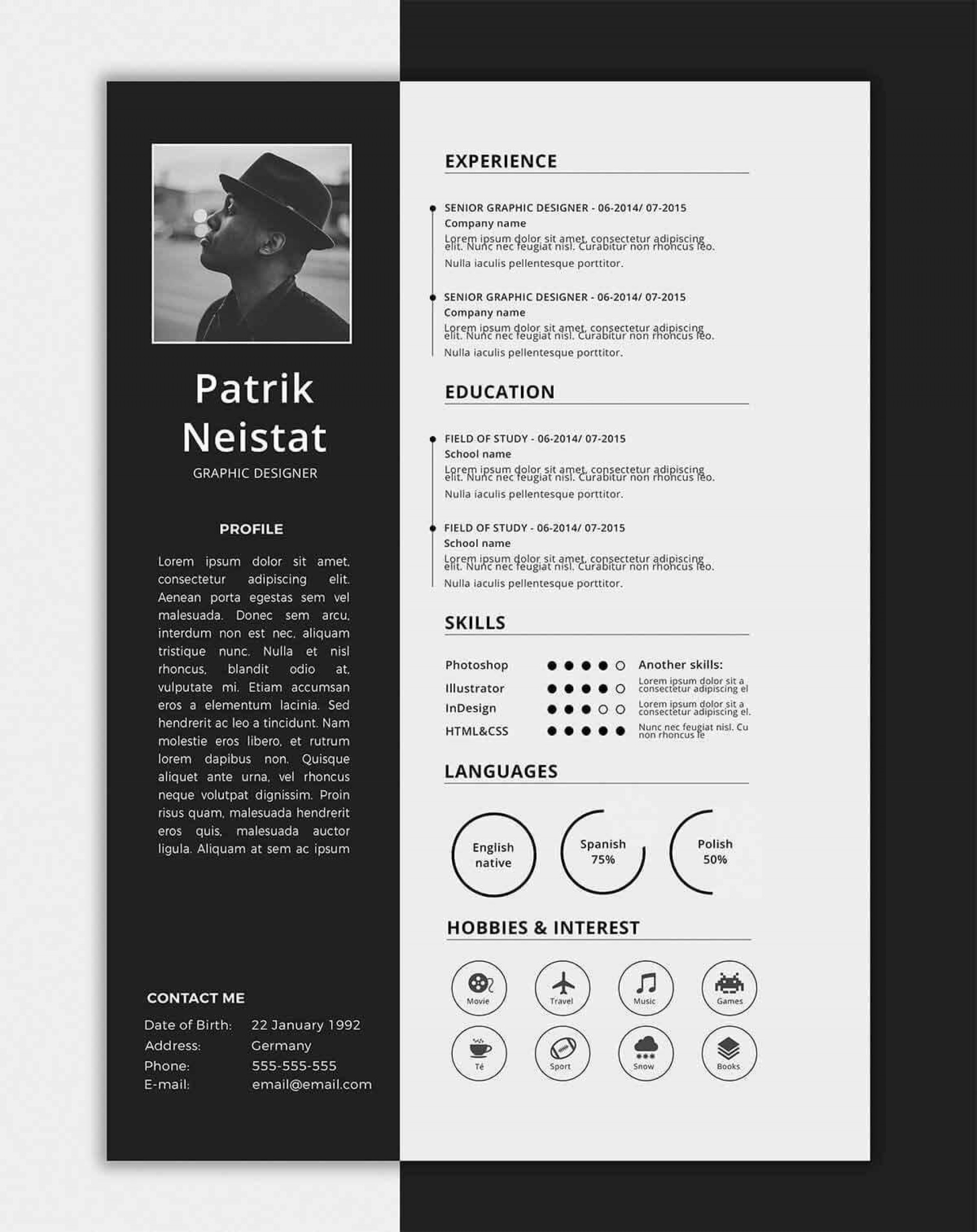 006 Striking Free One Page Resume Template Example  Word Download 2018 Best1920