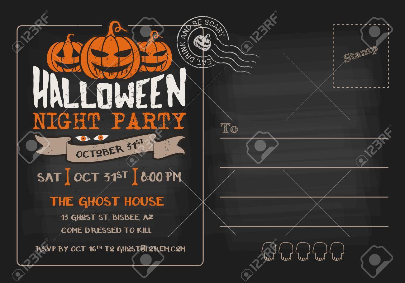 006 Striking Halloween Party Invitation Template Design  Microsoft Block OctoberFull