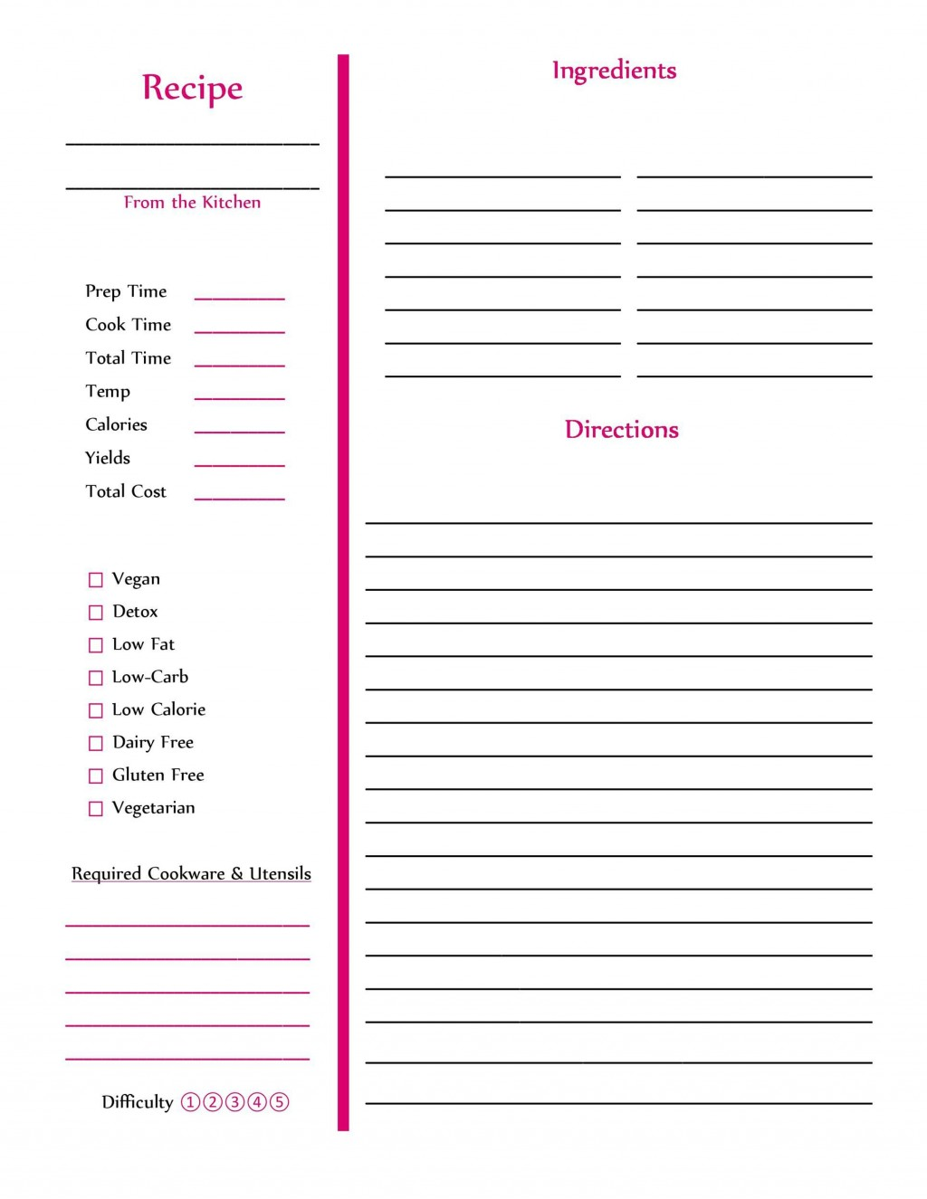 006 Striking M Word Recipe Template Example  Microsoft Card 2010 Full PageLarge