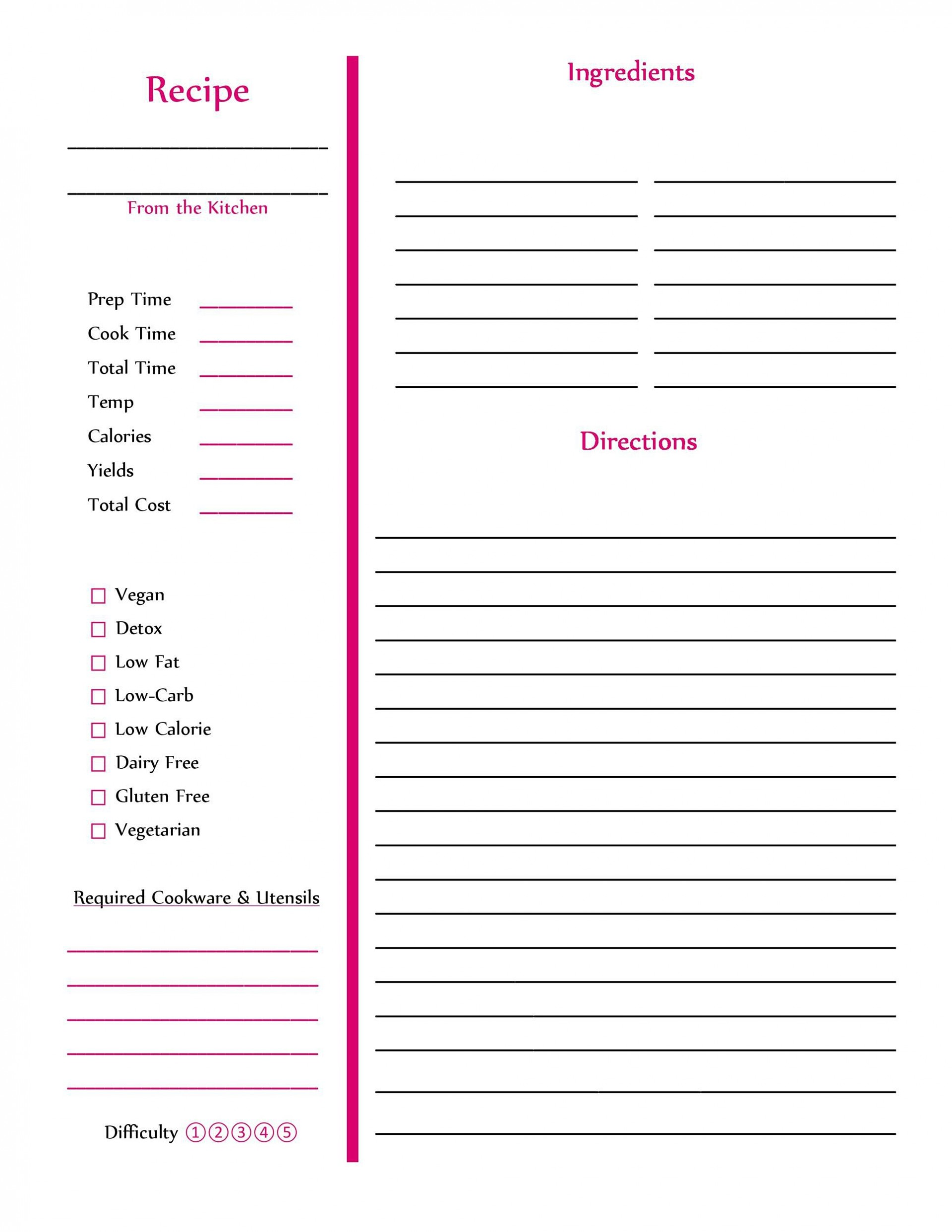 006 Striking M Word Recipe Template Example  Microsoft Card 2010 Full Page1920