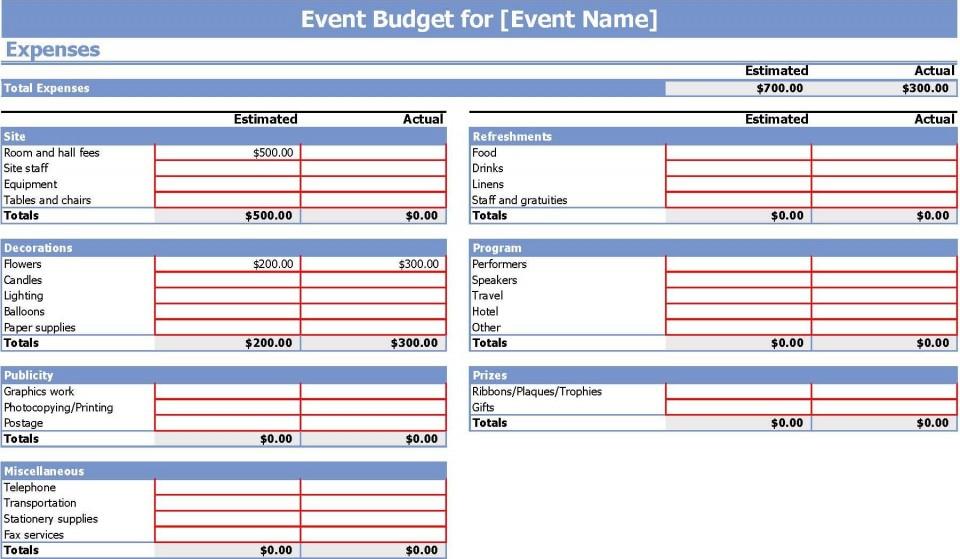 006 Stunning Event Planning Budget Worksheet Template Image  Free Download Planner Spreadsheet960