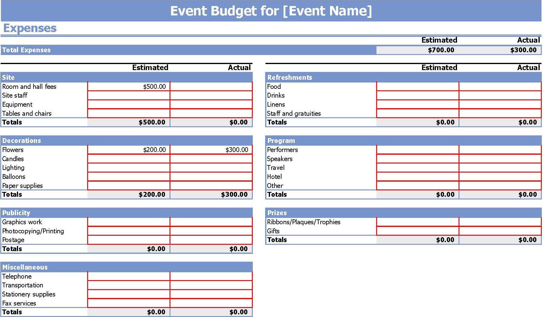 006 Stunning Event Planning Budget Worksheet Template Image  Free Download Planner SpreadsheetFull