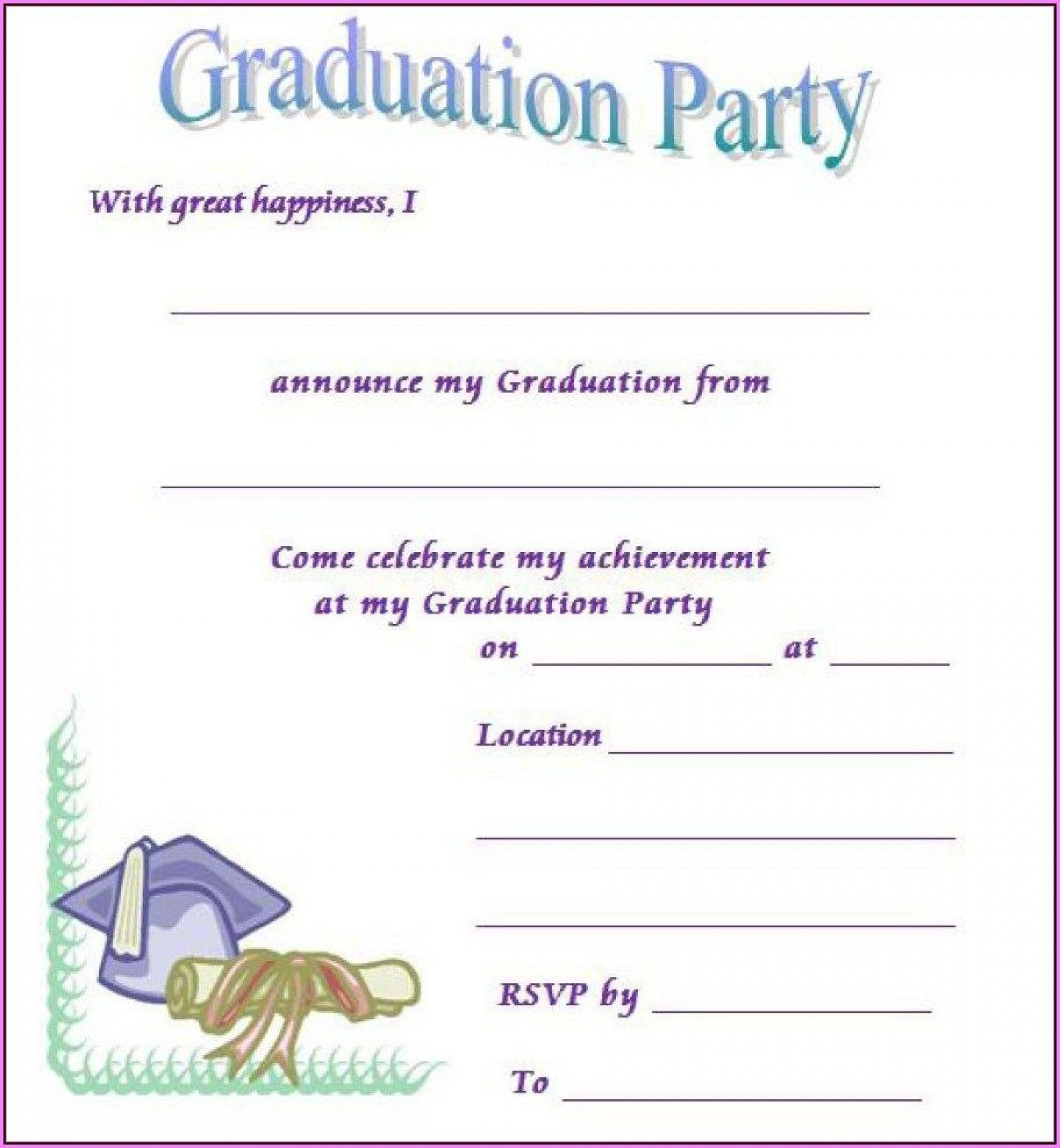 006 Stunning Free Printable Graduation Invitation Template Sample  Preschool Card 20191920