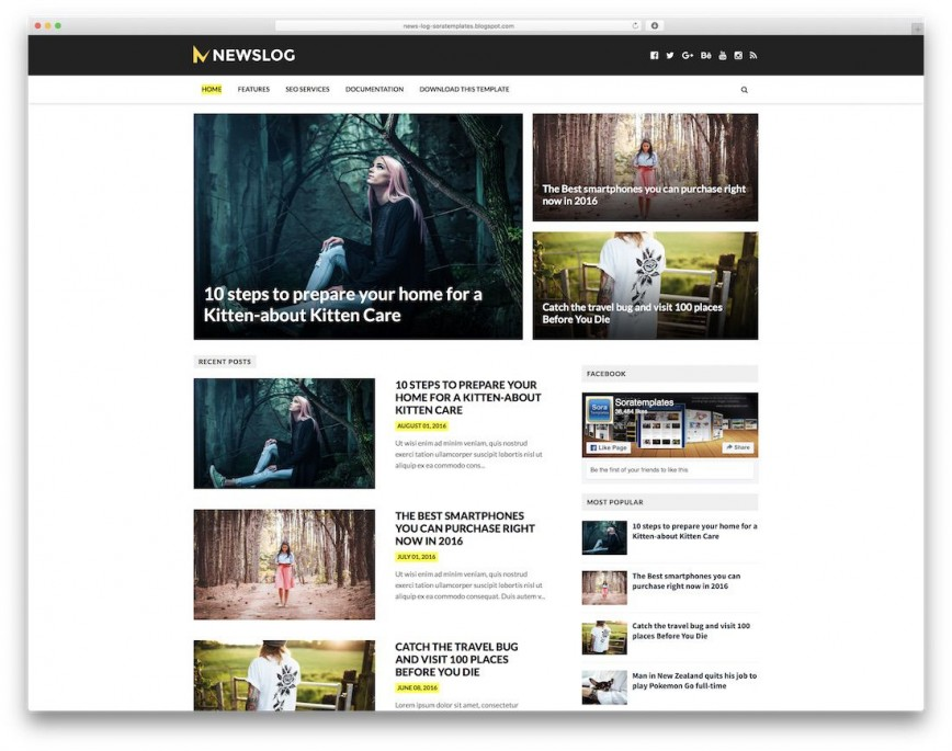 006 Stunning Free Responsive Blogger Theme Concept  Template One Column Html5 Blog Download Wordpres