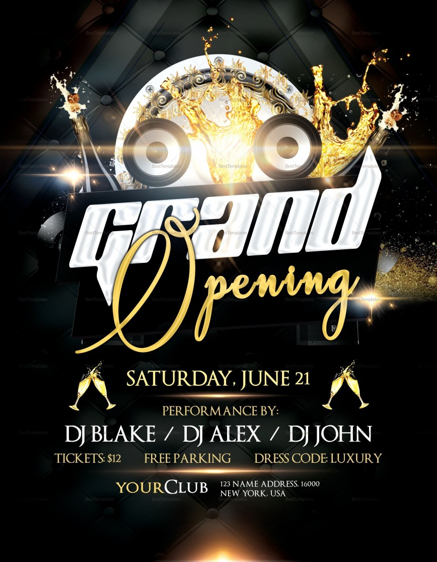 006 Stunning Grand Opening Flyer Template Example  Free Psd Busines868