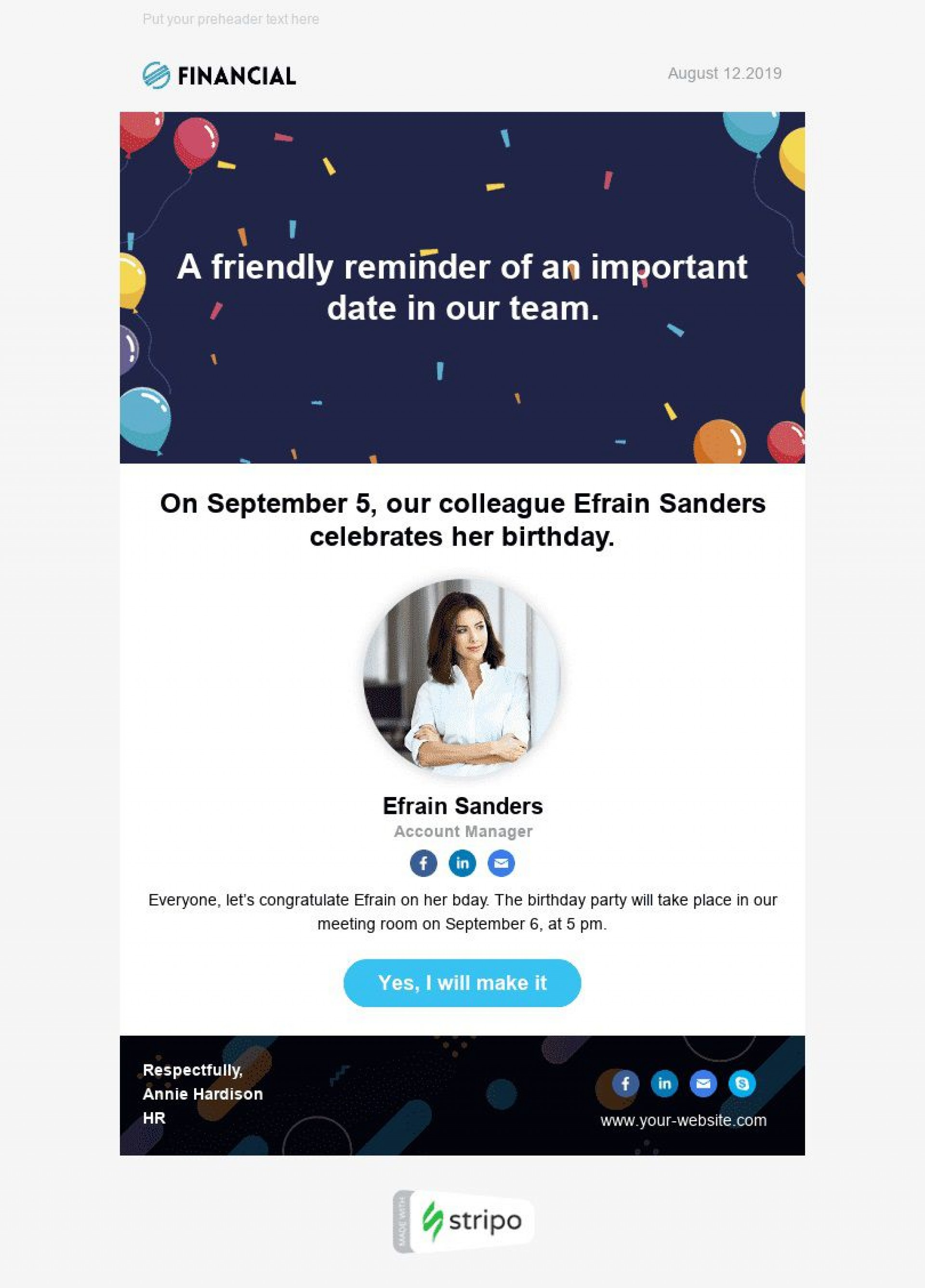 006 Stunning Happy Birthday Email Template High Definition  Html To Employee Corporate1920