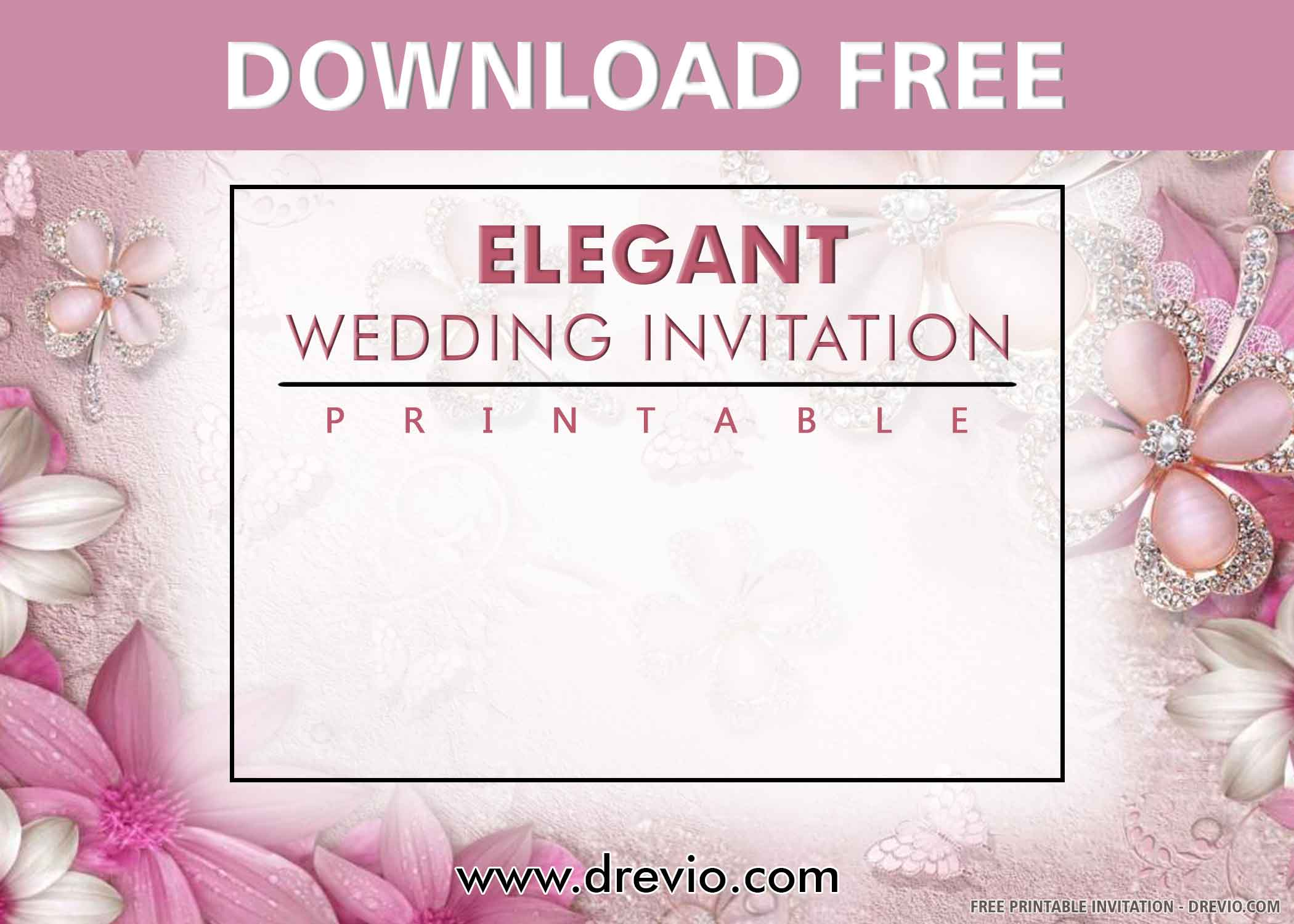 006 Stunning Printable Wedding Invitation Template Example  Free For Microsoft Word VintageFull