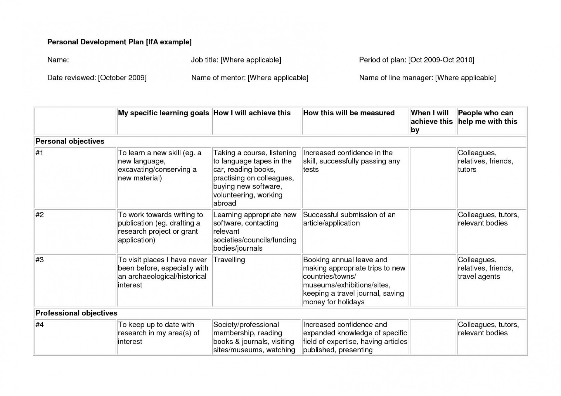 006 Stunning Professional Development Plan Template Sample  Example For Manager Excel1920