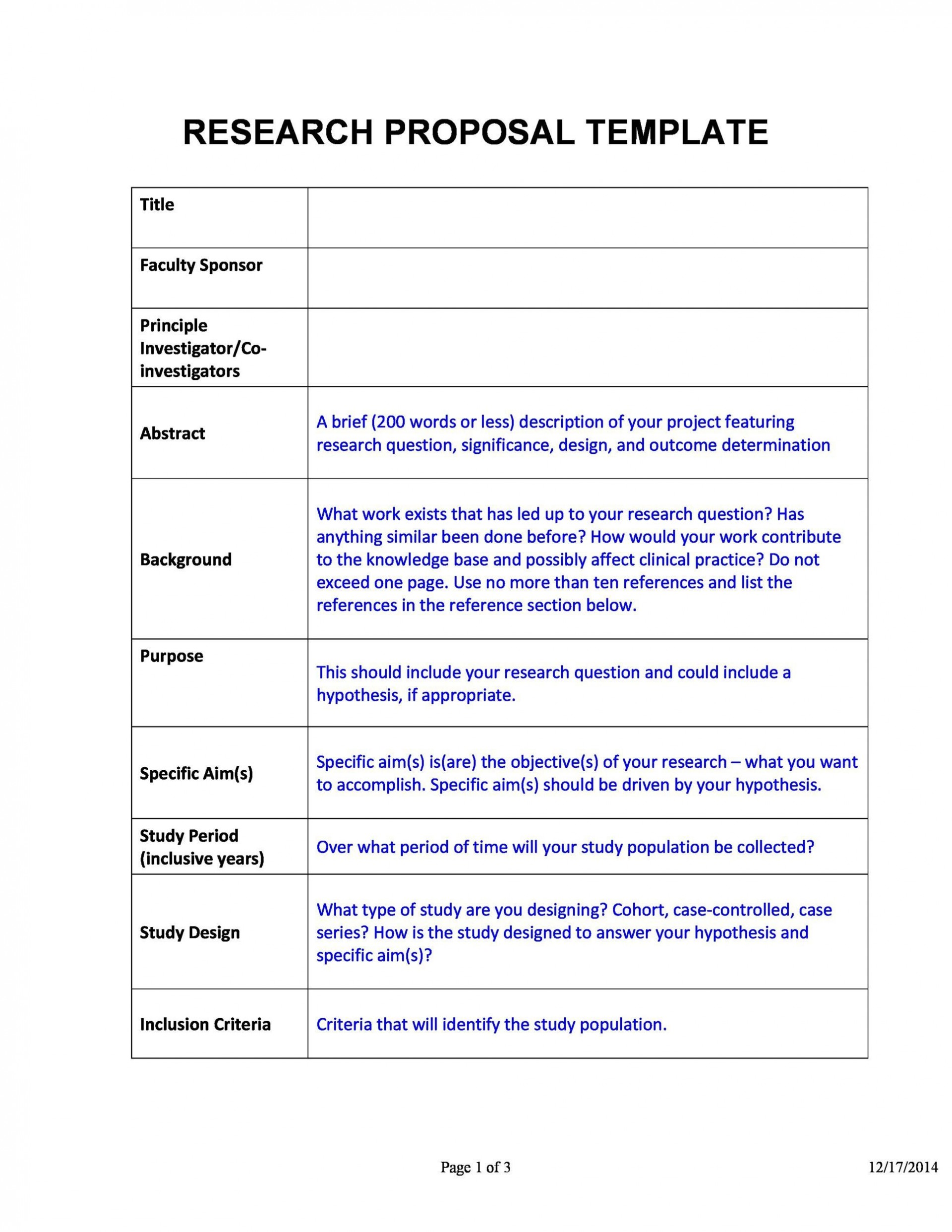 006 Stunning Research Project Proposal Template Word Example 1920