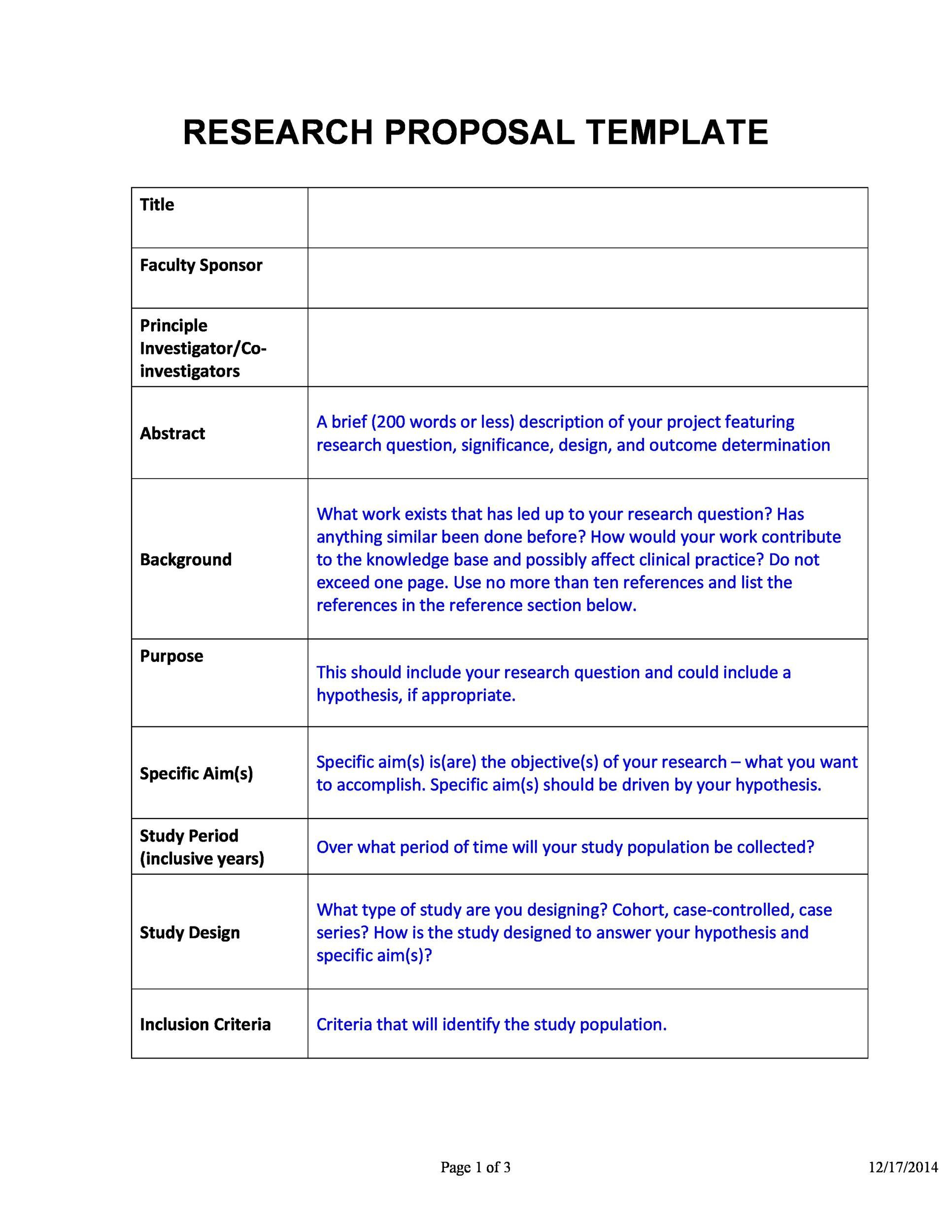 006 Stunning Research Project Proposal Template Word Example Full