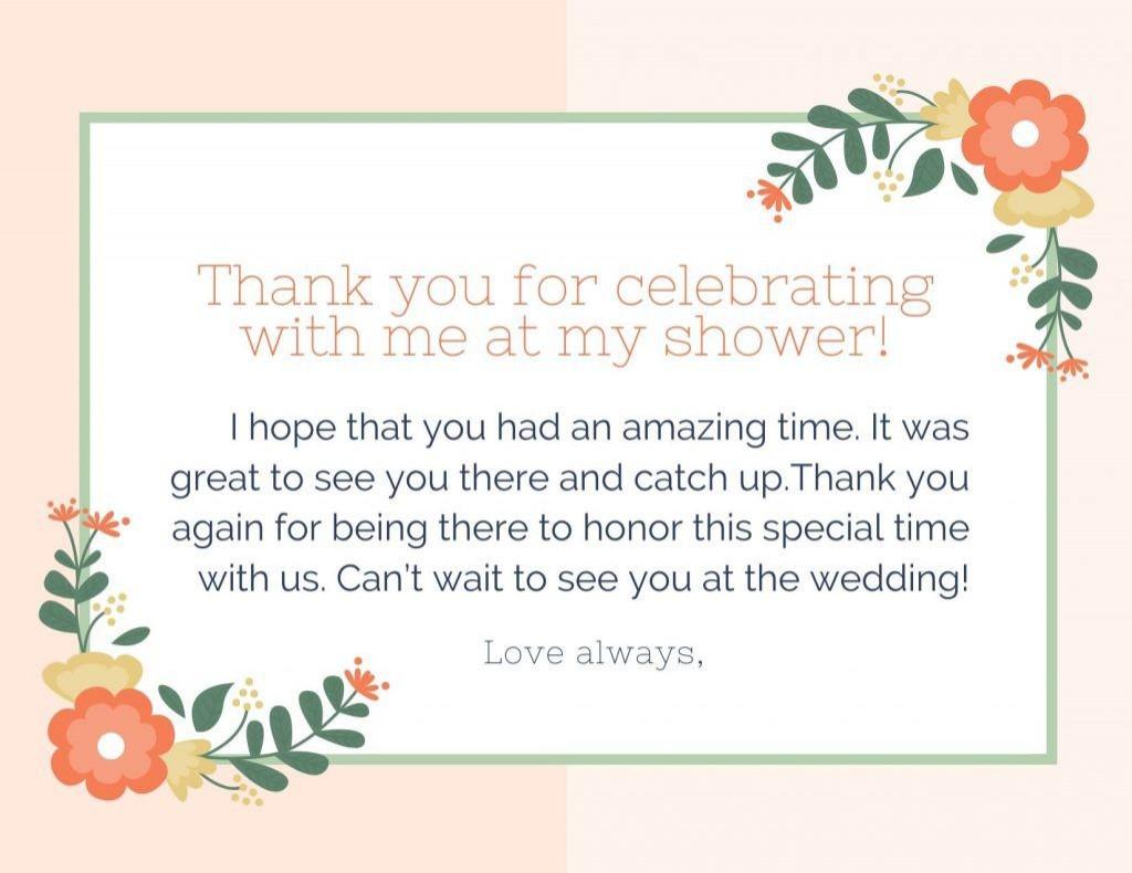 006 Stunning Thank You Note Template Wedding Shower High Resolution  Bridal Card Sample WordingLarge
