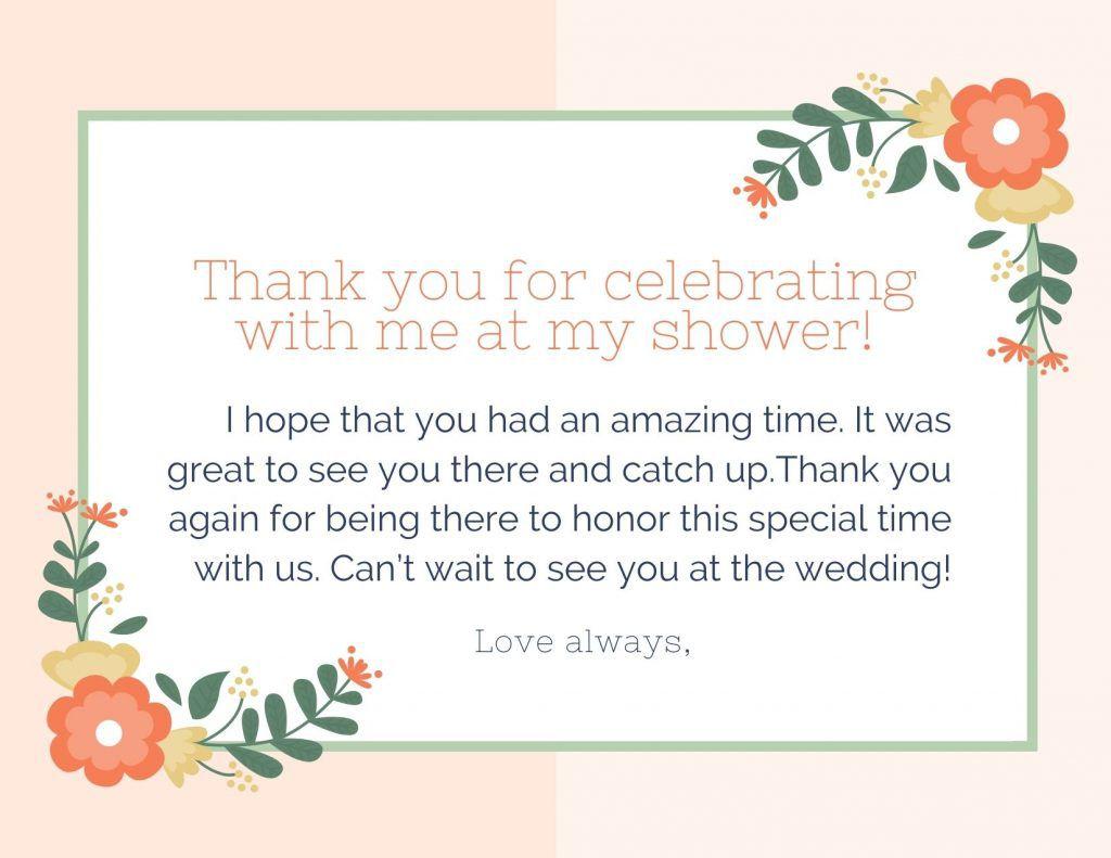 006 Stunning Thank You Note Template Wedding Shower High Resolution  Bridal Card Sample WordingFull