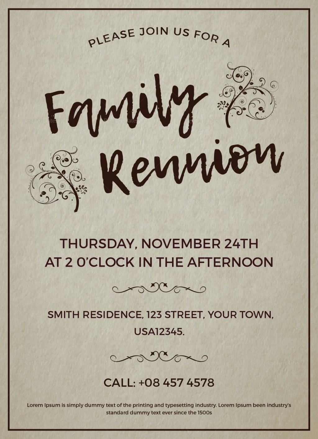 006 Stupendou Family Reunion Invitation Template Free High Def  For Word OnlineLarge