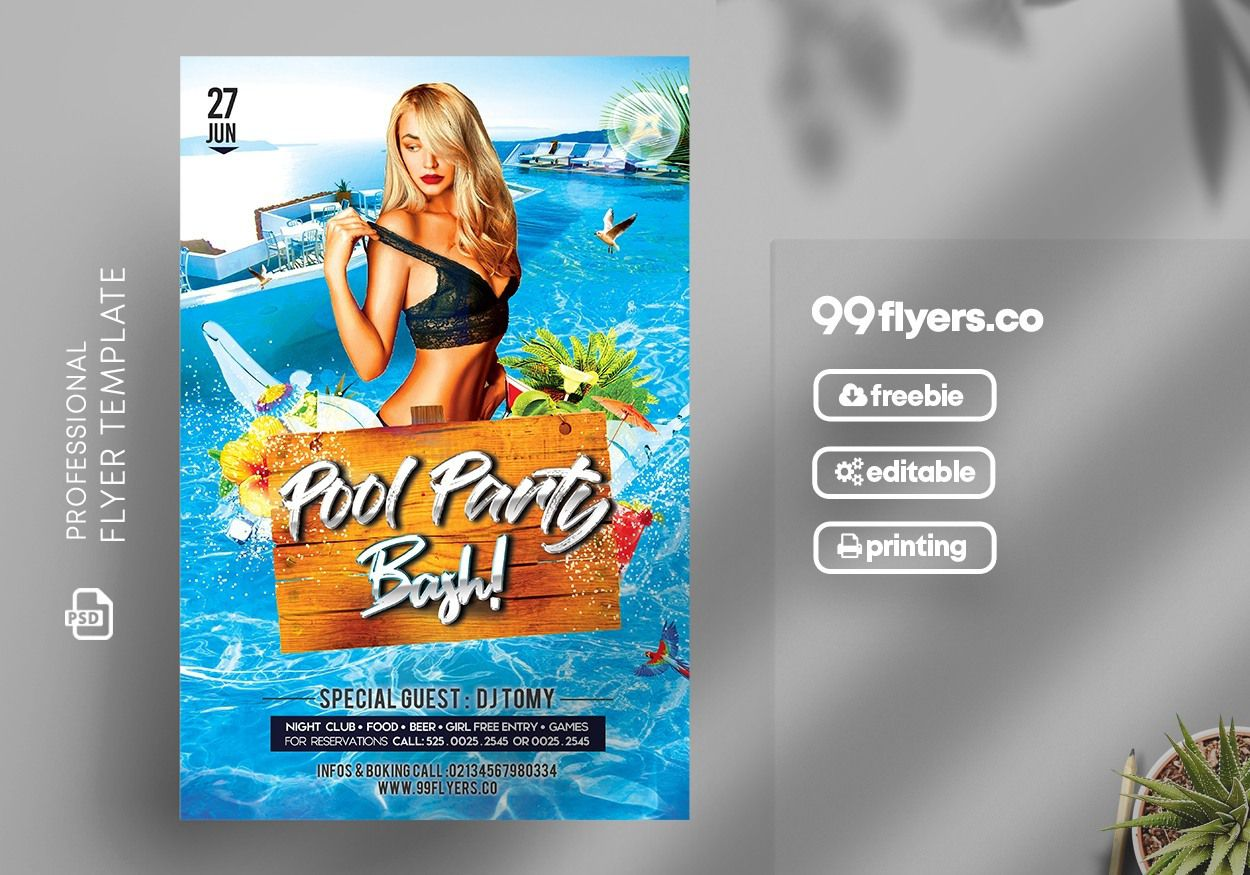 006 Stupendou Free Pool Party Flyer Template Psd High Definition  PhotoshopFull