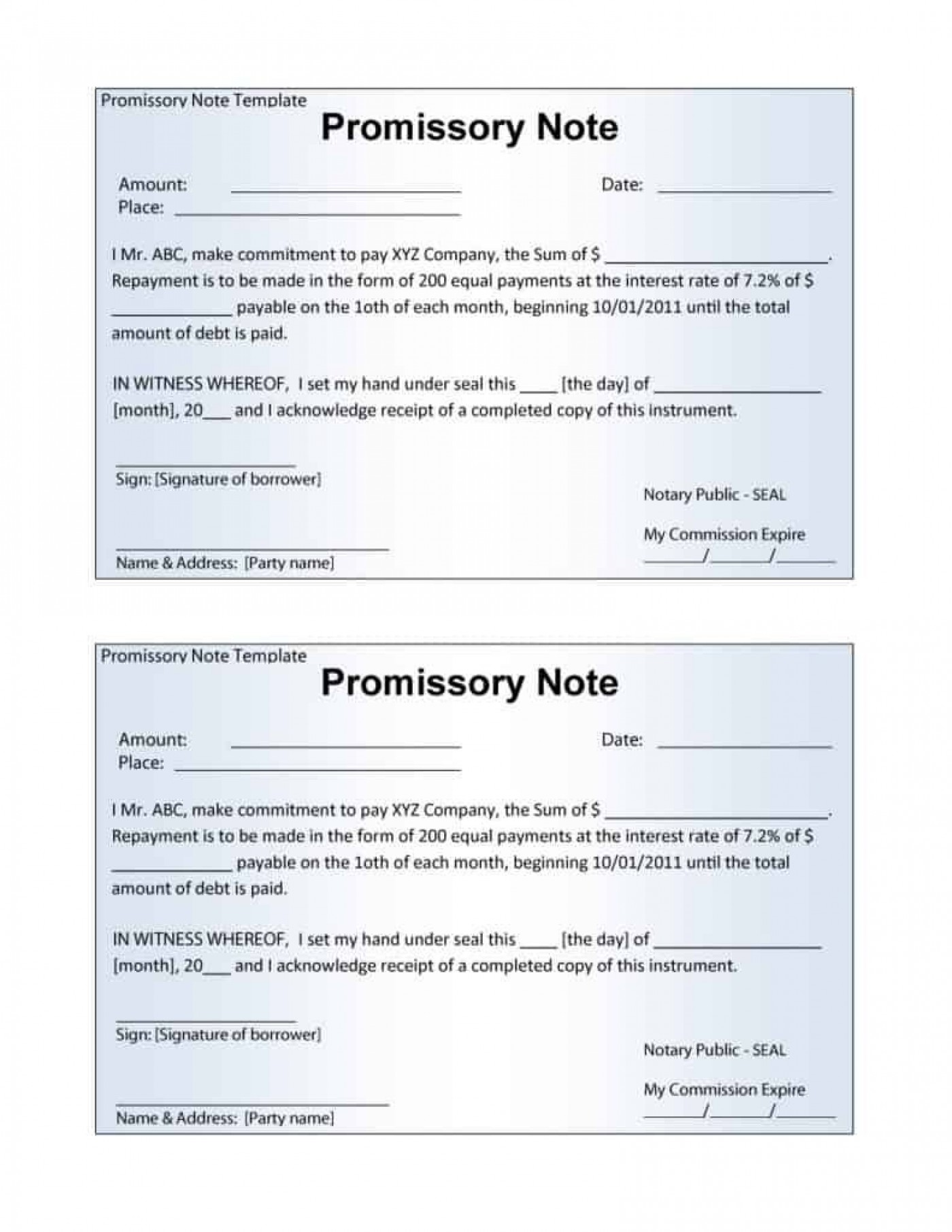 006 Stupendou Promissory Note Template Word High Definition  Form Document Free Sample1400