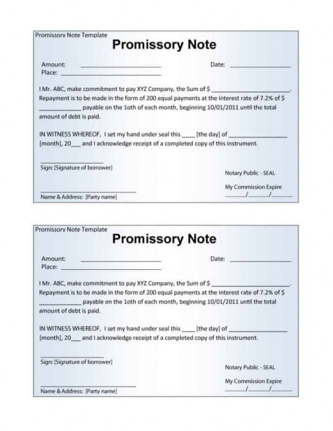 006 Stupendou Promissory Note Template Word High Definition  Form Document Free Sample480