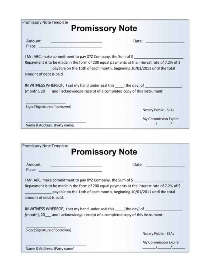 006 Stupendou Promissory Note Template Word High Definition  Form Document Free Sample728